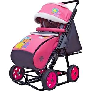 Санки коляска GALAXY SNOW City-1 Мишка со звездой на розовом на больших колёсах Ева+сумка+варежки