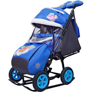 Санки коляска GALAXY SNOW City-1-1 2 Медведя на облаке на синем на больших надувных колёсах+сумка+ва фото