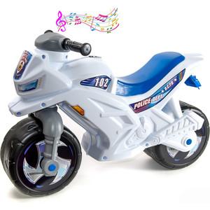 Каталка-мотоцикл RT ОР501в3 беговел Racer RZ 1 Полиция с музыкой, цвет бело-синий каталка мотоцикл rt скутер розовый ор502