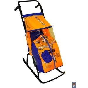 купить Санки коляска RT Снегурочка-2-Р МЕДВЕЖОНОК цвет синий-оранжевый дешево
