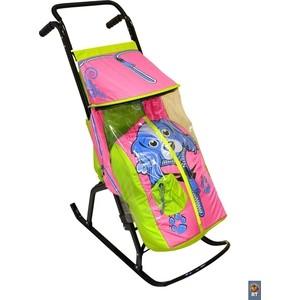 Санки коляска RT Снегурочка-2-Р СОБАЧКА цвет салатовый-розовый