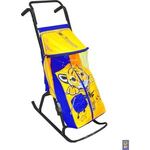цена на Санки коляска RT Снегурочка-2-Р ТИГРЕНОК цвет желтый-голубой