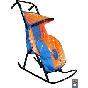 Санки коляска RT Снегурочка-2-Р1 СНЕЖИНКИ цвет голубой-оранжевый