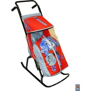 Санки коляска RT Снегурочка 2-Р СОБАЧКА серый-красный