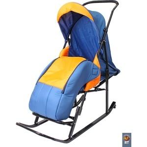 купить Санки коляска RT Шустрик-Имго-6 на колесиках с горизонтальным положением спинки синий-оранжевый дешево