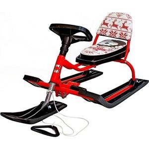 Снегокат Барс 104 Comfort Хаски со складной спинкой (красный)