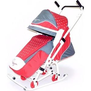 овелон санки коляска северая фантазия 08 к1 овелон 06 p12 розовый серый Санки коляска Скользяшки 0933-P14 Мозаика красный-серый-белый