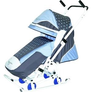 Санки коляска Скользяшки 0938-P14 Мозаика серый-голубой-белый санки коляска kristy comfort plus 3в вк голубой зоопарк