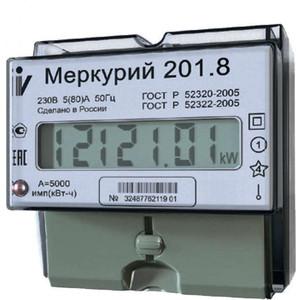 Счетчик электрической энергии Инкотекс Меркурий 201.8 1ф 5-80А 1 класс точности 1 тарифный импульсный выход ЖКИ табло DIN - рейка (32681) тарифный план