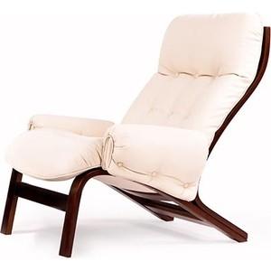 Кресло Мебелик Альбано с подлокотниками экокожа крем, каркас вишня
