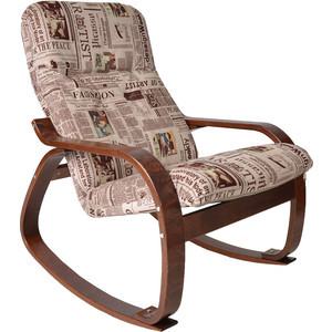 Кресло-качалка Мебелик Сайма ткань газета, каркас вишня