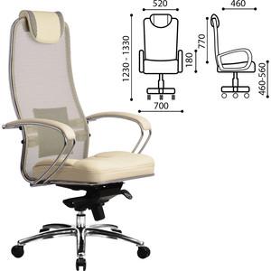 Кресло офисное Metta SAMURAI SL-1 сверхпрочная ткань-сетка/кожа, бежевое, ш/к 09966