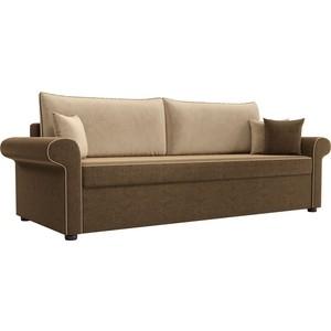 Диван прямой АртМебель Милфорд микровельвет коричневый с бежевыми подушками фото