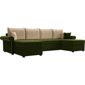 Диван П-образный АртМебель Милфорд микровельвет зеленый подушки бежевые