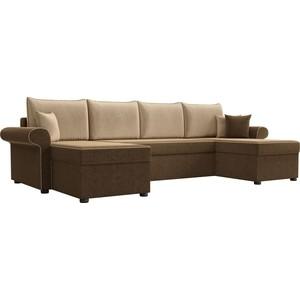 Диван П-образный АртМебель Милфорд микровельвет коричневый подушки бежевые