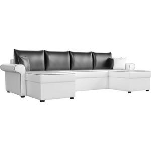 Диван П-образный АртМебель Милфорд экокожа белый подушки черные