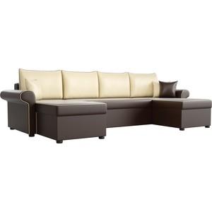 цена на Диван П-образный АртМебель Милфорд экокожа коричневый подушки бежевые