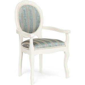 Кресло TetChair Fiona 2 (FN-AC2) дерево гевея, ivory white (слоновая кость) (2-5) ткань бирюзовая (H180-19) кресло tetchair fiona 2 fn ac2 дерево гевея tobacco ткань бежевая полоска tx 1b