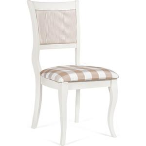 Стул TetChair Bianca (BI-SC(B)) дерево гевея, ivory white (слоновая кость 2-5) сиденье: клетка бежевая, спинка: полоска (S505)