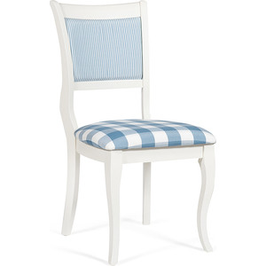 Стул TetChair Bianca (BI-SC(B)) дерево гевея, ivory white (слоновая кость 2-5) сиденье: клетка синяя, спинка: полоска (S505-2)