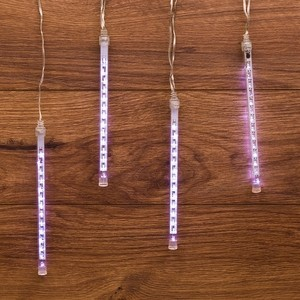 Neon-Night Гирлянда Тающие сосульки светодиодная, 4шт х 20см, шаг 50см, 24 В (с трансформатором) белые светодиоды гирлянда тдм sq0361 0026 сосульки падающий белый свет 30см 8шт в комплекте 3 8м