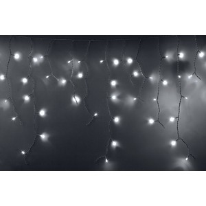 Neon-Night Гирлянда Айсикл (бахрома) светодиодный, 2,4 х 0,6 м, белый провод, 230 В, диоды белые, 76 LED гирлянда neon night айсикл 2 4x0 6m 88 led warm white 255 046