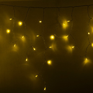 Neon-Night Гирлянда Айсикл (бахрома) светодиодный, 2,4 х 0,6 м, прозрачный провод, 230 В, диоды желтые, 88 LED гирлянда neon night айсикл 2 4x0 6m 88 led warm white 255 046