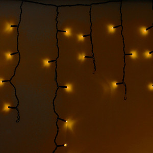Neon-Night Гирлянда Айсикл (бахрома) светодиодный, 2,4 х 0,6 м, черный провод, 230 В, диоды желтые, 88 LED гирлянда neon night galaxy bulb string светодиодная влагостойкая 30 ламп х 6 led каучуковый провод цвет черный зеленый 10 м