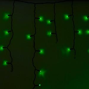 Neon-Night Гирлянда Айсикл (бахрома) светодиодный, 2,4 х 0,6 м, черный провод, 230 В, диоды зеленые, 88 LED гирлянда neon night galaxy bulb string светодиодная влагостойкая 30 ламп х 6 led каучуковый провод цвет черный зеленый 10 м