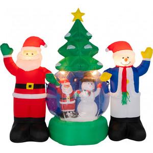Neon-Night 3D фигура надувная Дед Мороз и Снеговик, диаметр 120 см, общий размер 210 с подсветкой, компрессор адаптером 12В, IP 65