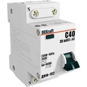 Выключатель автоматический дифференциального тока DeKraft 2п (1P+N) C 16А 30мА тип AC 4.5кА ДИФ-102 2мод. (16003DEK) автоматический выключатель 1p 40а dekraft