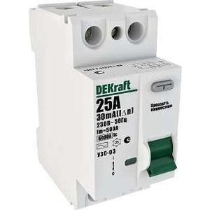 Выключатель дифференциального тока (УЗО) DeKraft 2п 25А 30мА тип AC 6кА УЗО-03 (14054DEK) узо schneider electric dekraft 2p 25а 30ма тип ac 6ка 14054dek