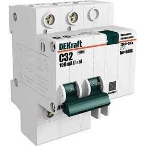 Выключатель автоматический дифференциального тока DeKraft 2п C 10А 30мА тип AC 4.5кА ДИФ-101 4.5мод. 15002DEK
