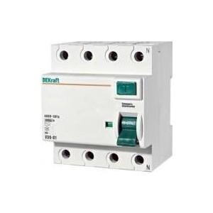 Выключатель дифференциального тока (УЗО) DeKraft 4п 63А 30мА тип AC 6кА УЗО-03 14081DEK узо schneider electric dekraft 2p 25а 30ма тип ac 6ка 14054dek