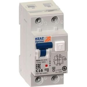 Выключатель автоматический КЭАЗ 2п (1P+N) C 16А 10мА тип A 6кА OptiDin D63 УХЛ4 2мод. (103500)