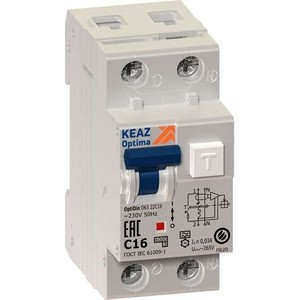 Выключатель автоматический КЭАЗ 2п (1P+N) C 16А 30мА тип A 6кА OptiDin D63 УХЛ4 2мод. (103507) сименс siemens 5sj61167cr стандартный одноступенчатый 16а мини выключатель 1p бытовой выключатель питания