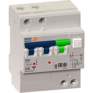 Выключатель автоматический КЭАЗ 2п C 16А 30мА тип A 6кА OptiDin VD63 УХЛ4 (103453) автоматический модульный выключатель abb 2п c sh202l 4 5ка 16а 2cds242001r0164