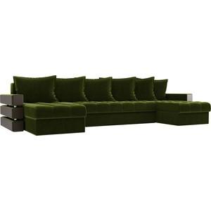 Диван АртМебель Венеция микровельвет зеленый П-образный