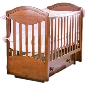 Кроватка Кубаньлесстрой Камелия с ящиком маятник поперечного качания орех АБ 23 2