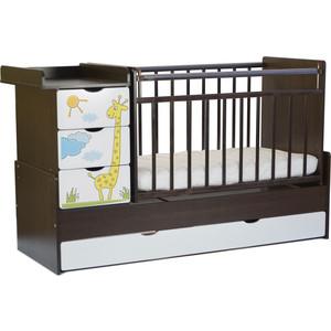 Кровать-трансформер СКВ Компани 4 ящика, маятник поперечный Жираф фотопечать, венге-белый 520038-1
