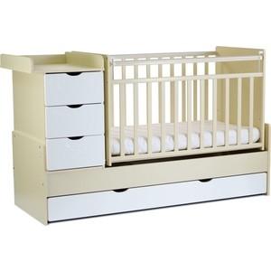 Кровать-трансформер СКВ Компани 4 ящика, маятник поперечный фасад-жираф, бежевый-белый 540039-1