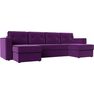 Диван АртМебель Принстон микровельвет фиолетовый П-образный