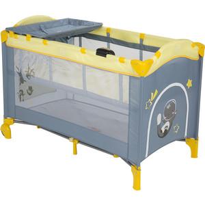 Манеж - кровать Capella SWEET TIME COSMOCATS , серый+желтый