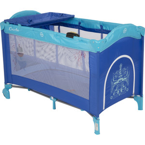 Манеж - кровать Capella SWEET TIME WHALE/DINOSAUR , синий