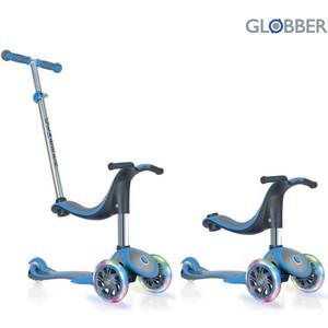 Самокат 3-х колесный Globber 454-130 GLOBBER EVO 4 in 1 PLUS Blue (6654) globber globber самокат с сиденьем evo 4 в 1 plus c подножками и 3 светящимися колесами голубой
