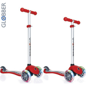 Самокат 3-х колесный Y-Scoo GLOBBER PRIMO Fantasy с 3 светящимися колесами RACING Red (6549) цена и фото
