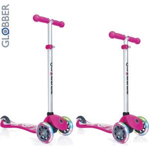 Самокат 3-х колесный Y-Scoo GLOBBER PRIMO Fantasy с 3 светящимися колесами LOGO Neon pink (6554) самокат трехколёсный y scoo globber primo plus с 3 светящимися колесами red 442 102