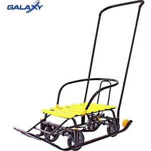 Санки GALAXY Snow Galaxy Black Auto желтые рейки на больших мягких колесах (6086)
