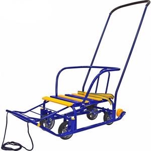 Санки RT на колесах, педальный принцип - синие (5086)