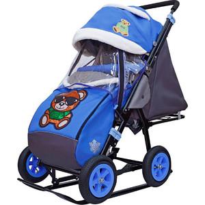 Санки-коляска GALAXY SNOW City-2-1 Зелёный Мишка на синем больших надувных колёсах (7091)